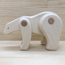 Figura de madera oso polar bajo